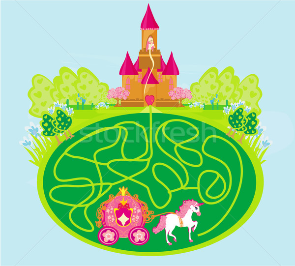 Stock photo: Funny maze game - princess waits in a castle