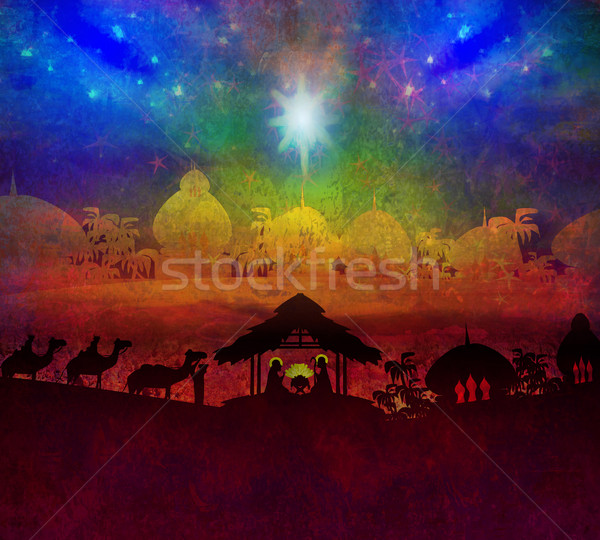 Biblical scene - birth of Jesus in Bethlehem.  Stock photo © JackyBrown