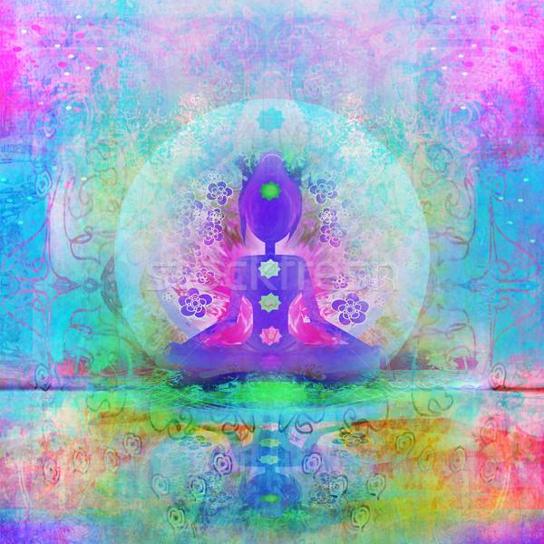 Yoga loto plantean chakra puntos Foto stock © JackyBrown