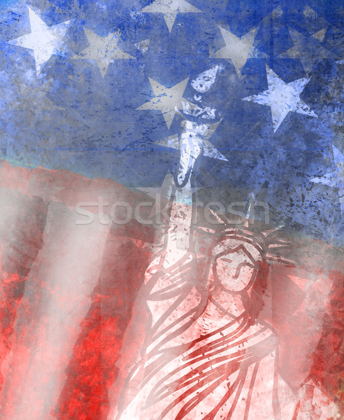 Grunge illustration of the american flag with the Statue of Libe Stock photo © JackyBrown