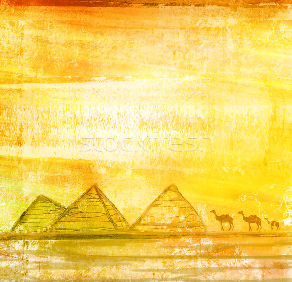 old paper with camel silhouette and pyramids giza , raster Stock photo © JackyBrown