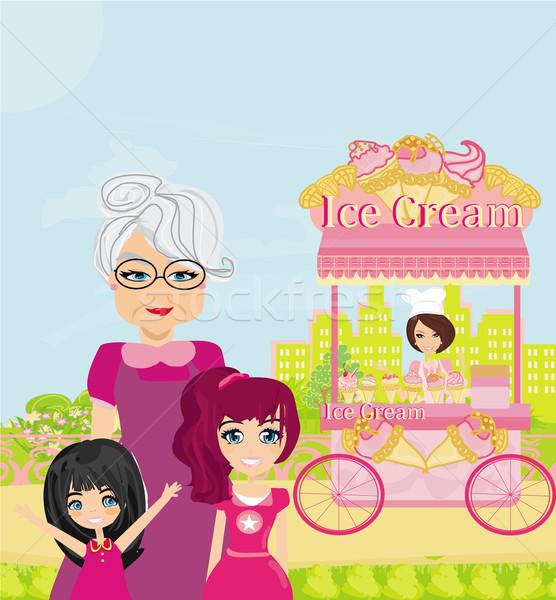 Dondurma hareketli alışveriş kadın aile bahar Stok fotoğraf © JackyBrown