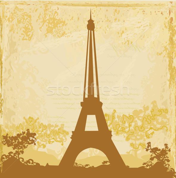 Foto stock: Torre · Eiffel · artístico · flores · textura · edifício · pintar