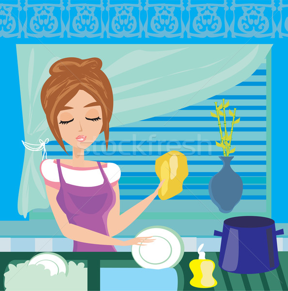housewife washing the dishes at night  Stock photo © JackyBrown