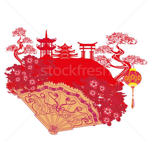 Kínai tájkép gyönyörű ventillátor terv háttér Stock fotó © JackyBrown