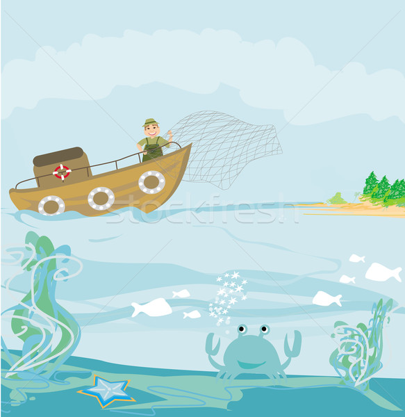 Illustration of a Fisherman at Work  Stock photo © JackyBrown