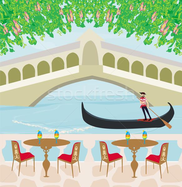 Café Veneza gôndola homem paisagem ponte Foto stock © JackyBrown