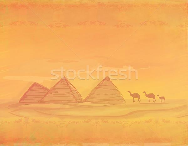 古い紙 ラクダ シルエット ピラミッド ギザ 風景 ストックフォト © JackyBrown