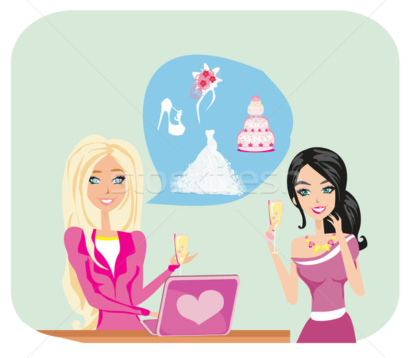 Wedding planner and bride Stock photo © JackyBrown