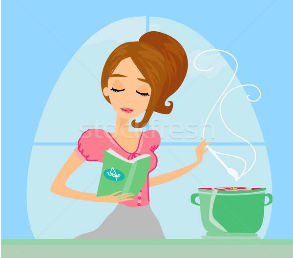 Hermosa dama cocina sopa casa alimentos Foto stock © JackyBrown