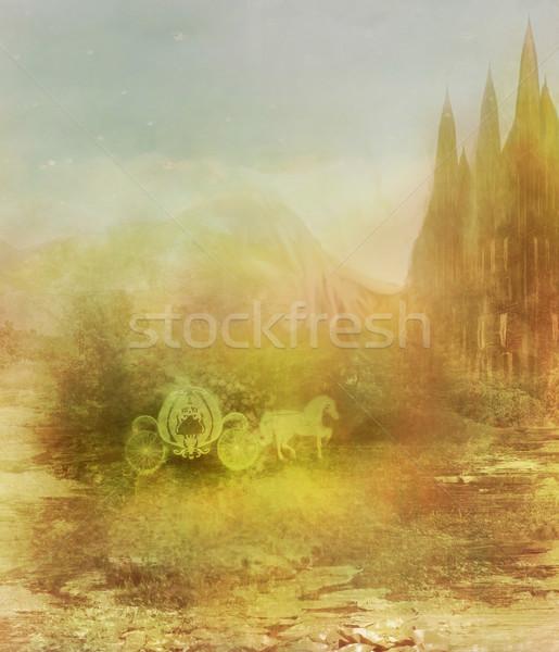 Ló fuvar középkori kastély égbolt hegy Stock fotó © JackyBrown