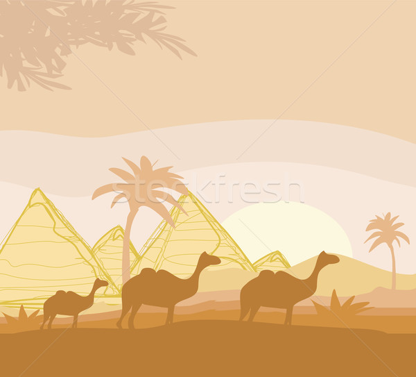 Stock photo: camel caravan in wild africa landscape illustration