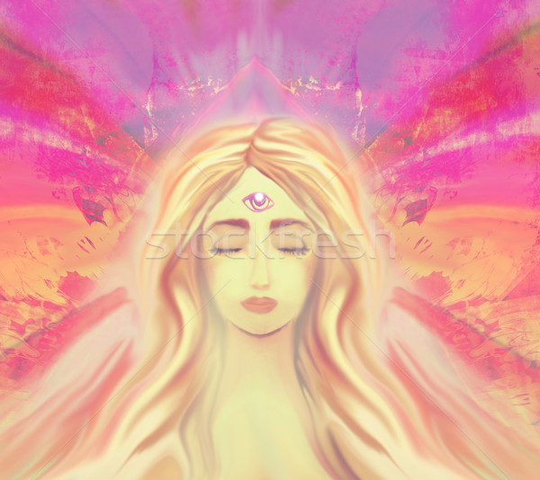Woman with third eye, psychic supernatural senses  Stock photo © JackyBrown