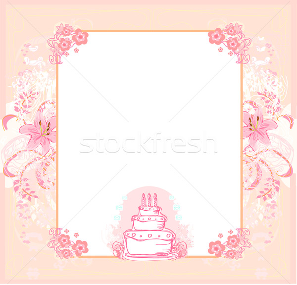 Happy Birthday Card with birthday cake Stock photo © JackyBrown
