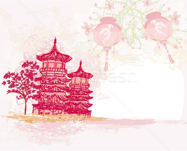 Papel viejo Asia paisaje chino linternas vintage Foto stock © JackyBrown