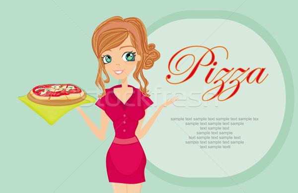 Mujer hermosa camarera pizza sonrisa chef servicio Foto stock © JackyBrown