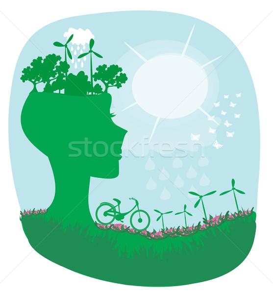 Ecología puesta de sol naturaleza fondo árboles Foto stock © JackyBrown