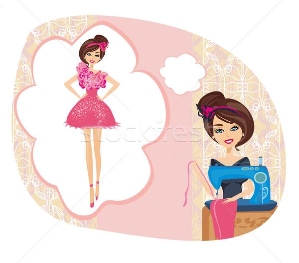 Dziewczyna maszyny do szycia marzenia piękna sukienka moda Zdjęcia stock © JackyBrown