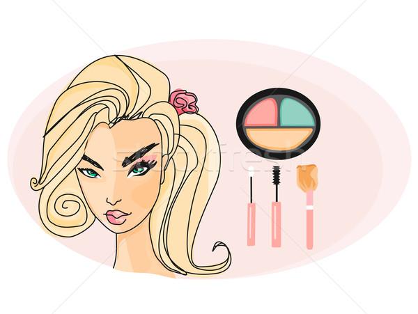 Güzel kız yarım yüz makyaj kadın Stok fotoğraf © JackyBrown