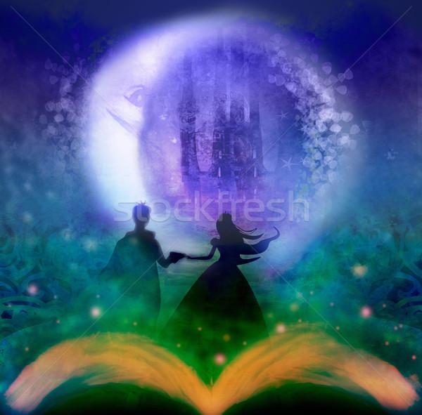 Magia castelo princesa príncipe mulher céu Foto stock © JackyBrown