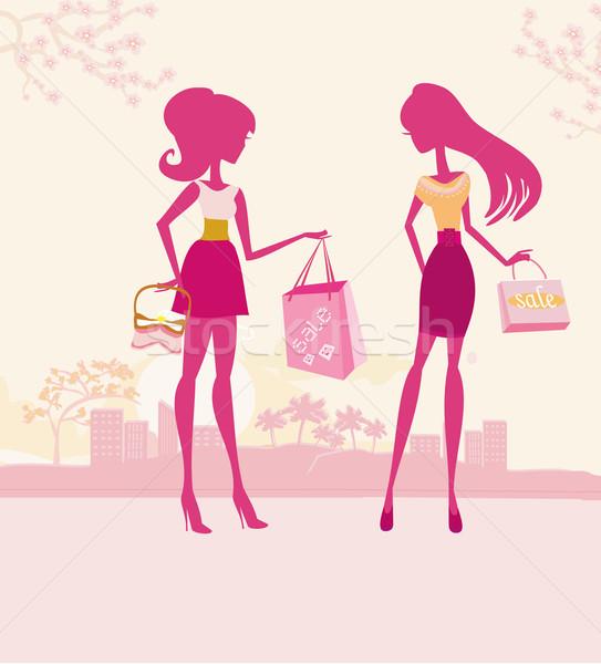 Moda kızlar siluetleri alışveriş şehir kadın Stok fotoğraf © JackyBrown