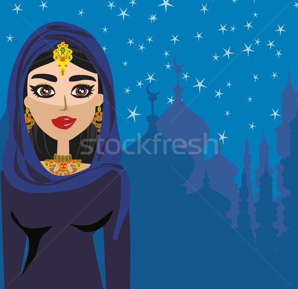 Portre Müslüman güzel kız başörtüsü kadın gökyüzü Stok fotoğraf © JackyBrown