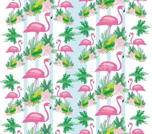 Végtelenített flamingó madár minta divat háttér Stock fotó © JackyBrown