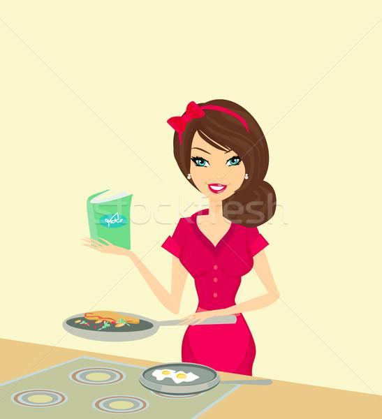 Mooie huisvrouw koken voedsel home interieur Stockfoto © JackyBrown