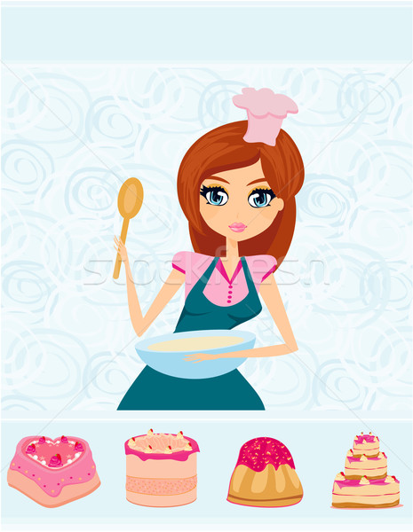 Gyönyörű lány főzés torták étel otthon belső Stock fotó © JackyBrown