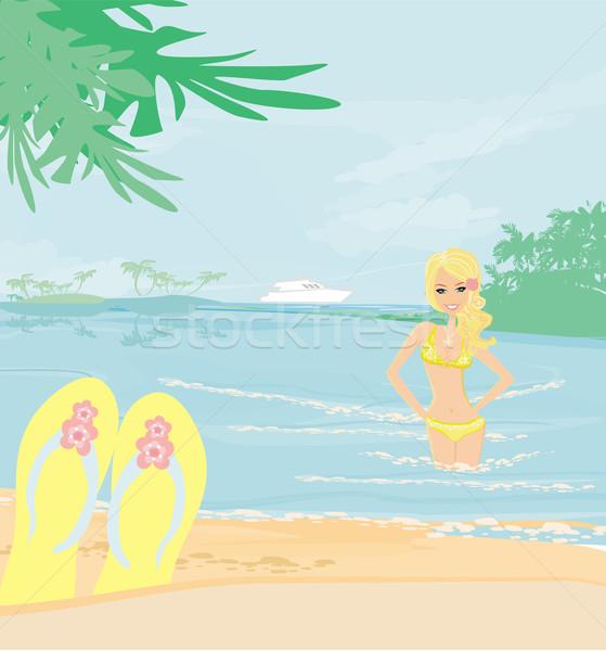 Menina férias água feliz paisagem verão Foto stock © JackyBrown
