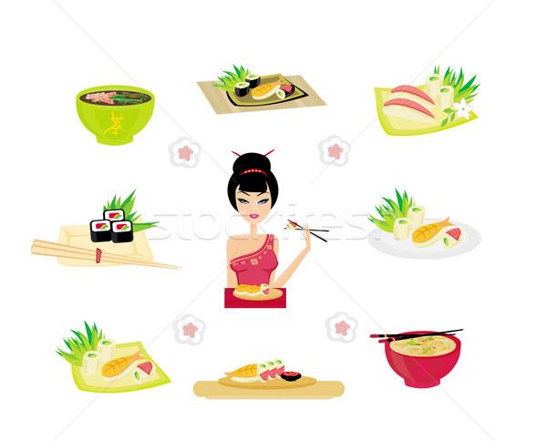 Sushi set with Japanese girl Stock photo © JackyBrown