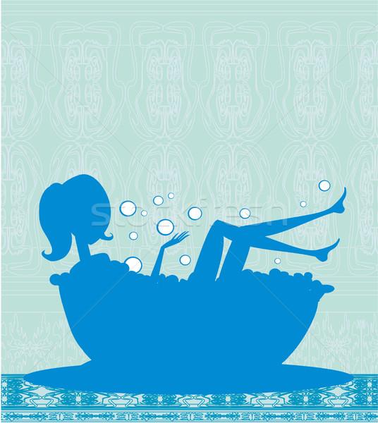 девушки ванны домой фон синий силуэта Сток-фото © JackyBrown