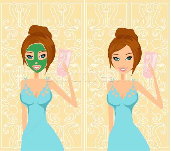 Cute woman applying moisturizer vector illustration  Stock photo © JackyBrown
