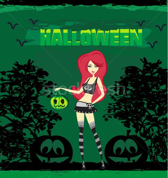 Halloween cadı ayakta kabak mutlu dizayn Stok fotoğraf © JackyBrown