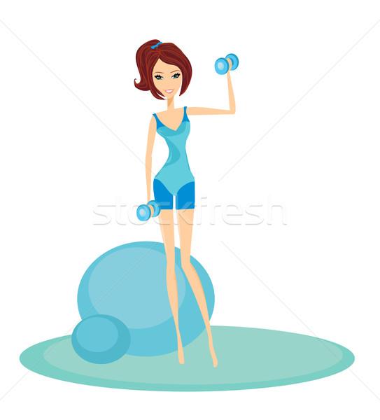 Uygun esmer kadın egzersiz iki Stok fotoğraf © JackyBrown