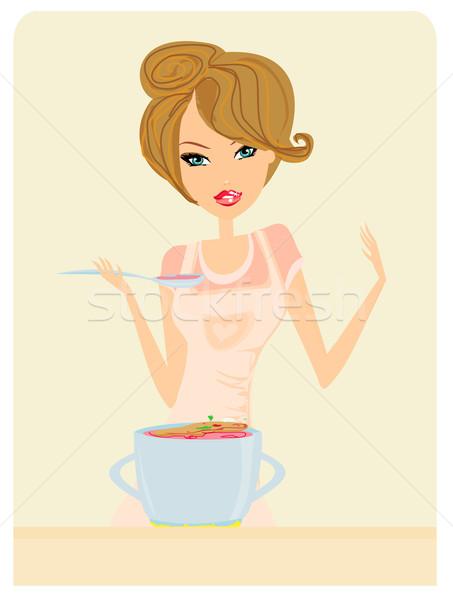 Gyönyörű hölgy főzés leves konyha otthon Stock fotó © JackyBrown
