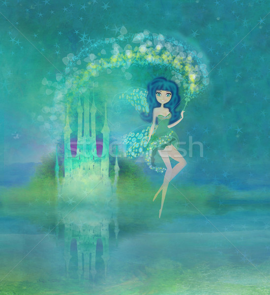 Stock fotó: Mágikus · tündérmese · hercegnő · kastély · ajtó · fák