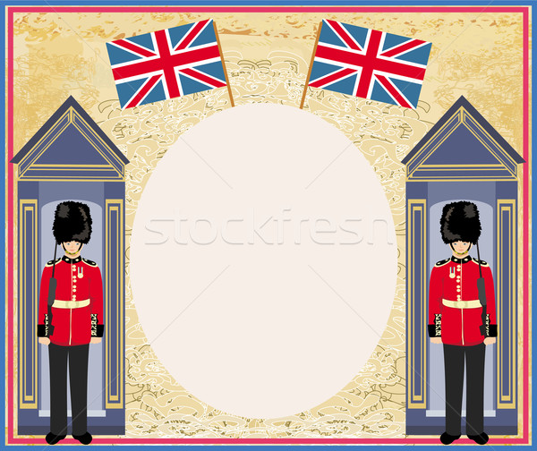 abstract background with flag england and Beefeater soldier  Stock photo © JackyBrown