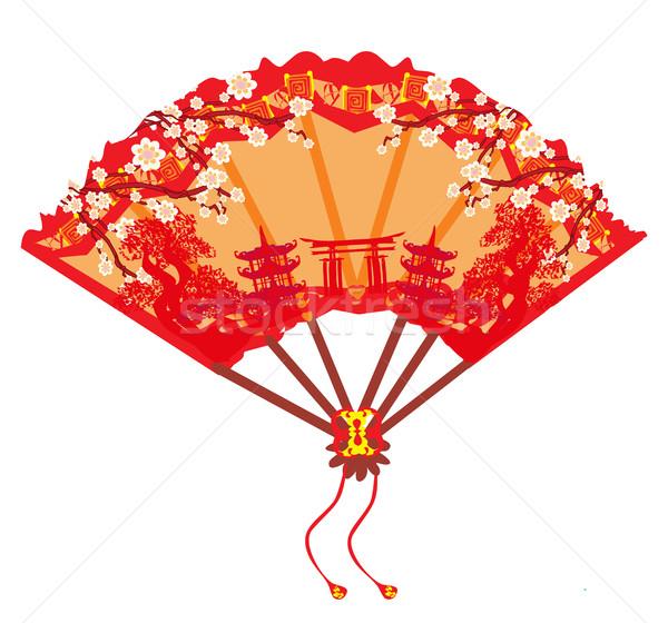 Kínai tájkép ventillátor terv háttér naptár Stock fotó © JackyBrown