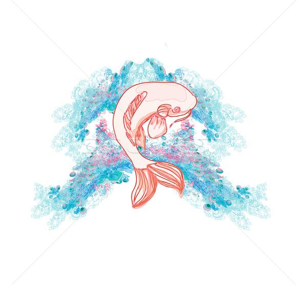 Japans koi vector ontwerp kleur asian Stockfoto © JackyBrown