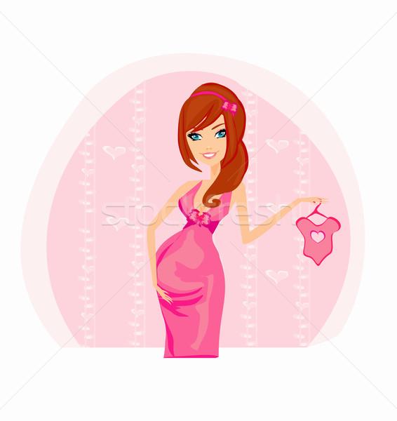 Foto stock: Belo · mulher · grávida · compras · novo · bebê · vetor