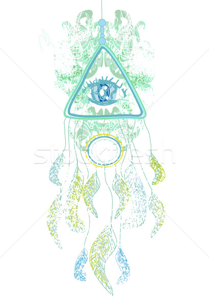 American Indian talisman dreamcatcher with eye Stock photo © JackyBrown