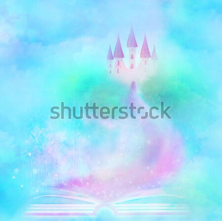 Elfo sentarse luna puerta montana castillo Foto stock © JackyBrown