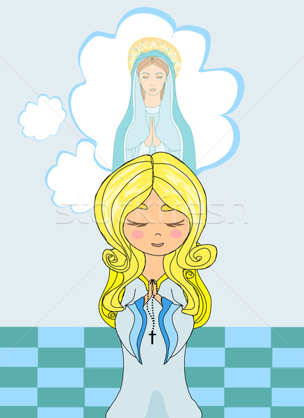 Cute little girl Praying to Blessed Virgin Mary  Stock photo © JackyBrown