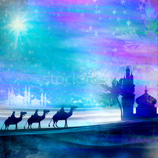 Classic three magic scene and shining star of Bethlehem  Stock photo © JackyBrown