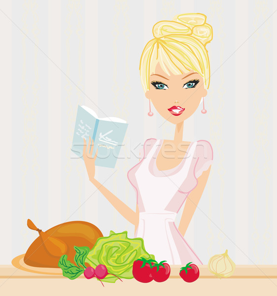 Beautiful lady cooking lunch  Stock photo © JackyBrown