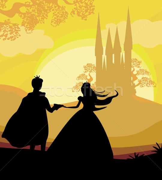 Mágikus kastély hercegnő herceg nő szeretet Stock fotó © JackyBrown
