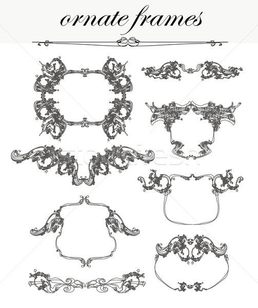 vector set: calligraphic design elements and frames  Stock photo © JackyBrown