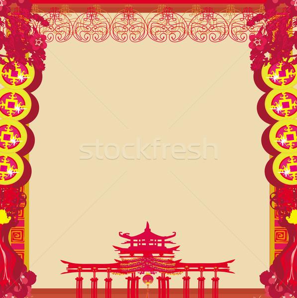 Festiwalu chiński nowy rok ramki budynku szczęśliwy streszczenie Zdjęcia stock © JackyBrown