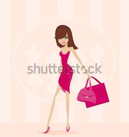 Moda compras nina mujer ciudad Foto stock © JackyBrown